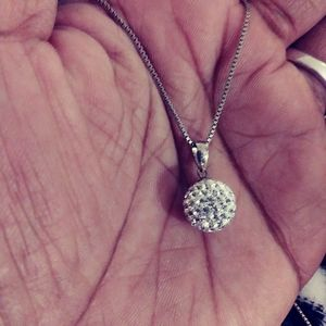 Sterling Silver Crystal Ball Necklace